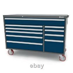 10 Drawer Rolling Tool Box, 16 ga Steel, Lift-Lock Handles, 250# Drawer Glides