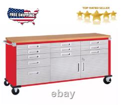 11 Drawer Tool Storage Chest Cabinet Wood Top Workbench Mobile Rolling 2 Door