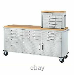 11 Drawer Tool Storage Chest Cabinet Wood Top Workbench Mobile Rolling 2 Doors