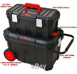2 IN 1 Large Rolling Heavy Duty Mobile Tool Storage Box Chest On Wheels quality