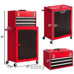 2 PCS Mini Tool Chest & Cabinet Storage Box Rolling Garage Toolbox Organizer