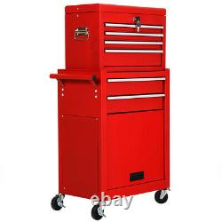 2 PCS Rolling Cabinet Storage Chest Box Garage Tool Box Organizer with 6 Drawers