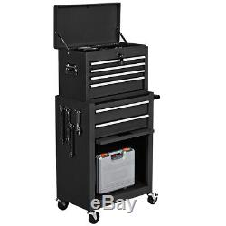 2 in 1 Rolling Cabinet Home Chest Box Garage Toolbox Organizer with 6 Drawers
