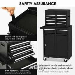 2 in 1 Tool Box withSliding Drawers Tool Chest & Cabinet Rolling Garage Organizer
