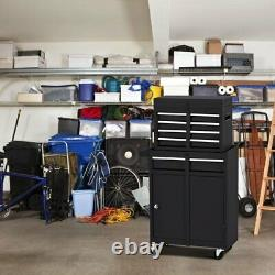 2-in-1 Tool Chest & Cabinet With 5 Sliding Drawers Rolling Garage Organizer Steel