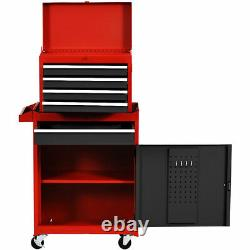 2 in 1 Tool Chest & Cabinet with 5 Sliding Drawers Rolling Garage Box Organizer