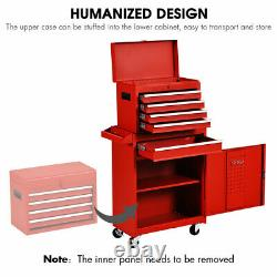 2 in 1 Tool Chest & Cabinet with 5 Sliding Drawers Rolling Garage Organizer Red