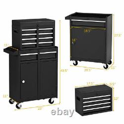 2 in 1 Tool Chest & Cabinet with Sliding Drawers Rolling Garage Organizer Black