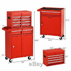 2-in-1 Tool Chest & Cabinet with5 Sliding Drawers Rolling Garage Organizer Red