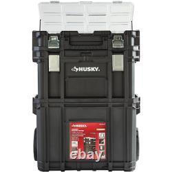 22 in. Husky Portable Rolling Tool Box on Wheels Cart Part Organizer Storage Bin