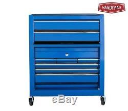 2PC Blue Chest Cabinet Storage Cart Wheel Rolling Garage Toolbox Organizer
