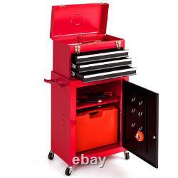 2PCS Mini Tool Rolling Garage Toolbox Organizer Chest Storage Box Utility