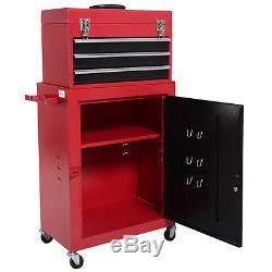 2pc Mini Tool Chest & Cabinet Storage Box Rolling Garage Toolbox Organizer