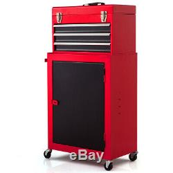 2pc Mini Tool Chest & Cabinet Storage Box Rolling Garage Toolbox Organizer New