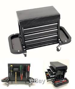 3 Drawer Rolling Tool Box Creeper Seat Mechanic Garage Work Stool Storage Cart