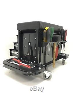 3 Drawer Rolling Tool Chest Cart Utility Garage Toolbox Seat Workshop Cabinet