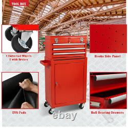 3-Drawer Tool Chest 2 in 1 Rolling Tool Box Keyed Lock Steel Storage Cabinet Red