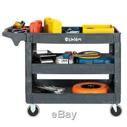 3 Layer Rolling Utility Cart Dolly Tool Storage Shelves Workshop Plastic Trolley