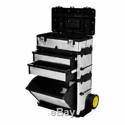 3 Part Rolling Stacking Trolley Tool Box Chest Organizer Cabinet Metal Portable