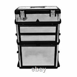3-Part Rolling Tool Box Chest With 2 Wheels Storage Cabinet Storage Boxes Garage