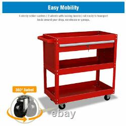 3 Tier Rolling Tool Cart Mechanic Cabinet Storage Toolbox Organizer With Drawer