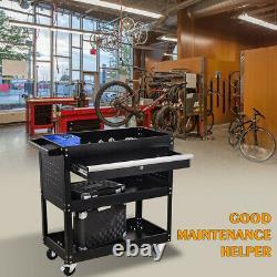 3 Tier Rolling Tool Cart Utility Cart withWheels & Drawers Metal Storage Tool Box