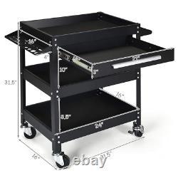 3 Tray Tool Cart Organizer Rolling Utility Garage Storage Decker Home With Drawer