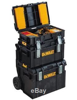 3-pc Modular Gear Cart Rolling Tool Box Portable Jobsite Storage Hardware Chest