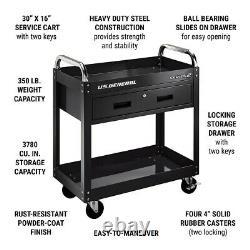 30 Rolling Service Cart Mobile Steel Tool Cart With Locking Storage Drawer Black