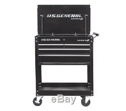 30 in. 4 Drawer Black Tech Cart Tool Storage Rolling Workstation Auto Shop Box