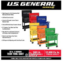 30 in. 4 Drawer Green Tech Cart Tool Storage Rolling Workstation Auto Shop Box