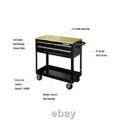 36 in. W 3-Drawer Rolling Tool Cart in Gloss Black with Hardwood Top