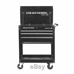 4 Drawer Rolling Tool Storage Utility Metal Tech Cart Locks Garage Box On Wheels