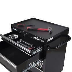 4 Shelf Tool Cabinet Chest Steel Storage Rolling Drawer Black