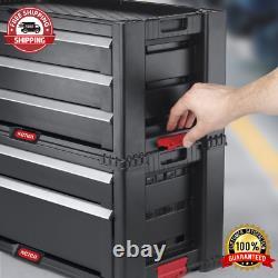 5 Drawer Modular Garage Deep Storage Plastic Resin Two Tool Rolling Chest Black