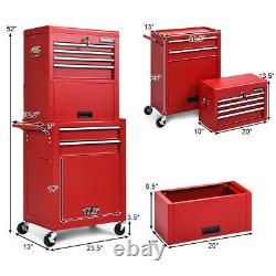 6-Drawer Rolling Tool Chest Cabinet Toolbox Combo Set Kit Locking withRiser Red