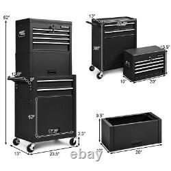 6-Drawer Toolbox Rolling Tool Chest High Capacity Storage Cabinet Combo with Riser
