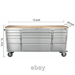 72 Thor 15 Drawers Tool Chest Cabinet Rolling Storage Sliding Box Work Bench US