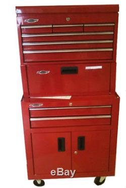 8 Drawer Rolling Tool Box Chest Portable Cabinet Red Steel Garage Mechanics Shop