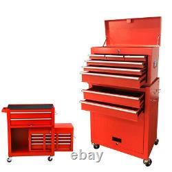 8-Drawer Rolling Tool Chest Cabinet Steel Tool Storage Box with Drawers & Wheels