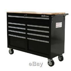 9 Drawer Rolling Workbench Tool chest Tool cabinet Wooden Work Surface Storage