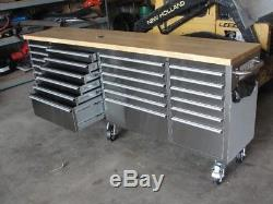 96 inch stainless steel rolling tool box tool bench