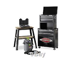 Black Metal Tool Chest With Wheels Rolling Box Set Heavy Duty Cabinet Portable