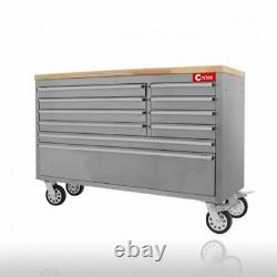 CRYTEC 55 Stainless Steel 10 Drawer Work Bench Tool Box Chest Cabinet Roll Cab