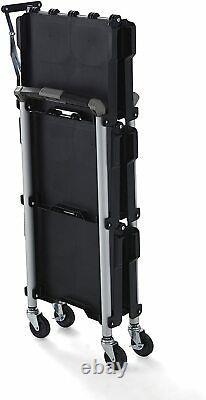 Collapsible Rolling Utility Cart Portable Folding Service Garage Shop Tool Shelf