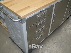 Cooking Kitchen Island Grill Stainless Steel Rolling Workbench Top Toolbox