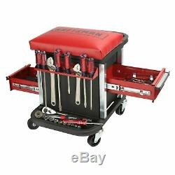 Craftsman Garage Glider Sliding Rolling Portable Tool Chest Seat Stool 2 drawers