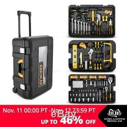 DEKO 258 Piece Trolley Portable Tool Kit with Rolling Tool Box Mechanic Case