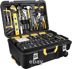 DEKOPRO 258 Pcs Tool Kit with Rolling Tool Box Socket Wrench Hand NEW