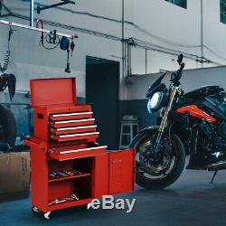Functional Tool Chest & Cabinet with 5 Drawers Rolling Garage Tool Organizer Red